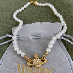 Jewelry - Vivienne Westwood Pearl Orb Choker Necklace GOLD